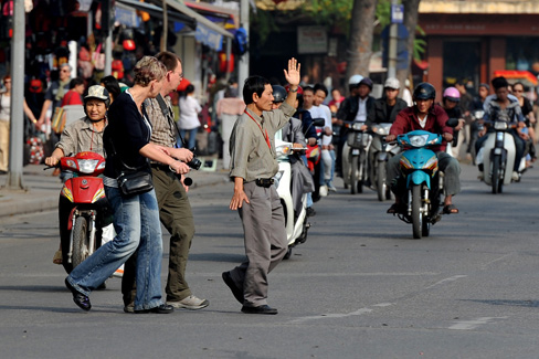 crossing the road in Vietnam