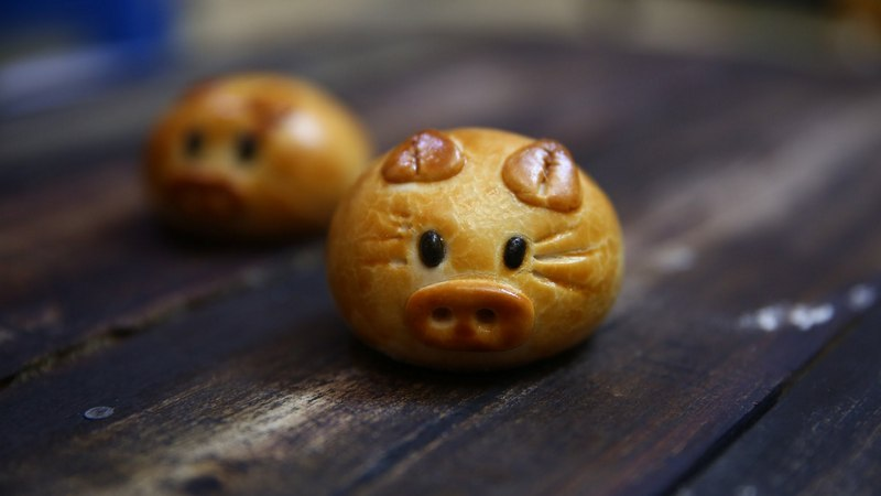 Baked mooncake in shape of cute animals