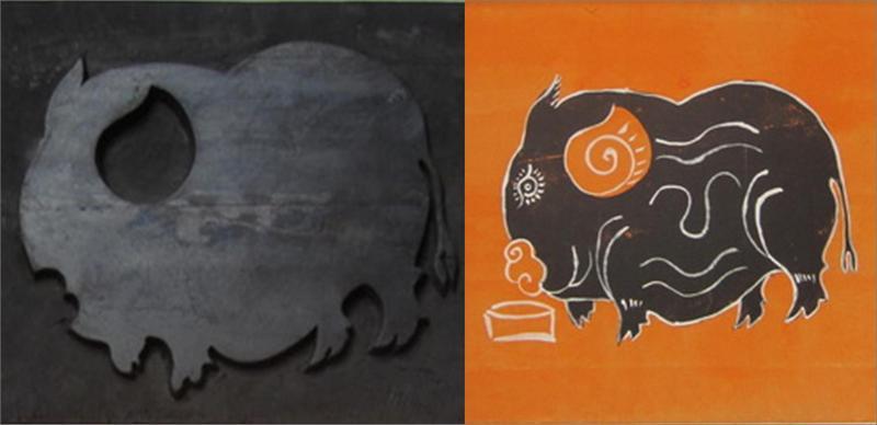 Kim Hoang woodblock and painting