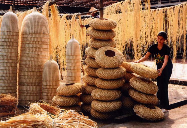 Stacks of bamboo products in Phu Vinh Village