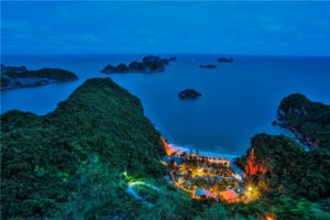 cat ba at night top view vietnam