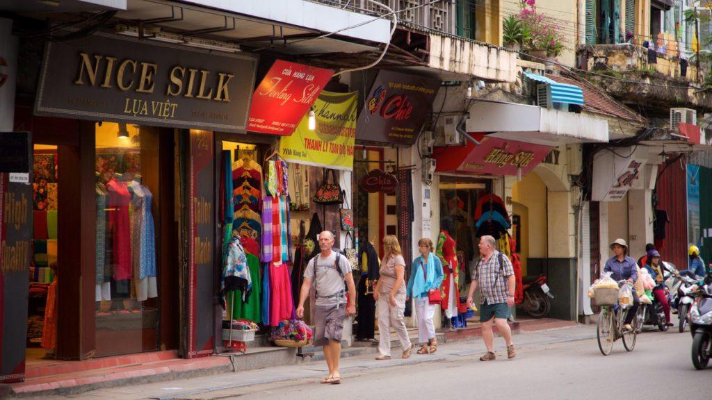 hang gai street vietnam clothes shopping hanoi